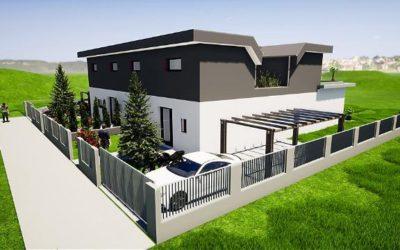 Tolle architektur doppelhaushälfte mit atrium und dachterrasse kurz vor baubeginn 2