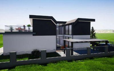 Tolle architektur doppelhaushälfte mit atrium und dachterrasse kurz vor baubeginn